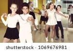 friendly  positive little boys... | Shutterstock . vector #1069676981