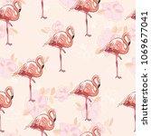 seamless flamingo pattern... | Shutterstock . vector #1069677041