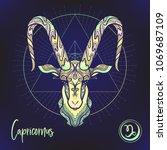 capricorn zodiac sign.... | Shutterstock .eps vector #1069687109