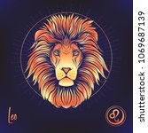 leo  lion zodiac sign.... | Shutterstock .eps vector #1069687139