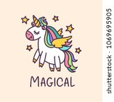 unicorn cute cartoon drawing... | Shutterstock .eps vector #1069695905