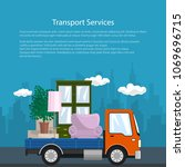 poster with lorry  freight... | Shutterstock .eps vector #1069696715