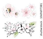abstract blossom flowers vector ... | Shutterstock .eps vector #1069697381