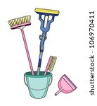 brushes in a bucket | Shutterstock .eps vector #106970411
