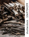 firewood for the winter  stacks ... | Shutterstock . vector #1069704299