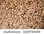 firewood for the winter  stacks ... | Shutterstock . vector #1069704305