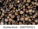 firewood for the winter  stacks ... | Shutterstock . vector #1069704311