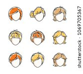 collection of women faces ... | Shutterstock .eps vector #1069705367