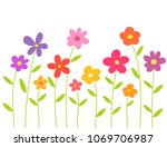 colorful flowers isolated on... | Shutterstock .eps vector #1069706987