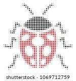 ladybird bug halftone vector... | Shutterstock .eps vector #1069712759