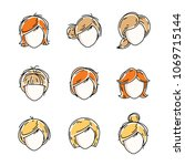 collection of women faces ... | Shutterstock .eps vector #1069715144