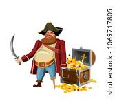 old pirate with one leg and...   Shutterstock .eps vector #1069717805