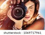 closeup portrait of a beautiful ... | Shutterstock . vector #1069717961