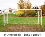 old vacant football soccer goal ... | Shutterstock . vector #1069718594