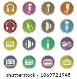 musical web icons in the form... | Shutterstock .eps vector #1069721945