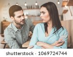 guilty young man is asking... | Shutterstock . vector #1069724744