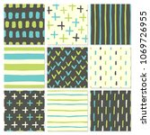set of nine hand drawn colorful ... | Shutterstock .eps vector #1069726955