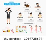 damage your brain infographic...   Shutterstock .eps vector #1069728674