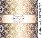 gold wedding invitation card...   Shutterstock .eps vector #1069742297