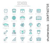 collection of school thin line... | Shutterstock .eps vector #1069760735