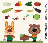 set of isolated vegetables ... | Shutterstock .eps vector #1069782299