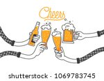 Four hands holding four beer bottles. Clinking glasses in plaid shirt. Party celebration in a pub. Isolated vector illustration of four drunk person drinking beer on white background. Cheers mate. | Shutterstock vector #1069783745