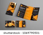 black triple folding brochure... | Shutterstock .eps vector #1069790501