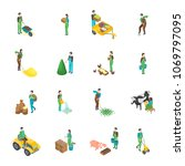 farmers at work 3d icons set...   Shutterstock .eps vector #1069797095