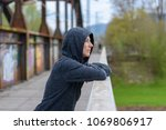 serious thoughtful woman... | Shutterstock . vector #1069806917
