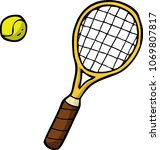 doodle tennis racket and ball... | Shutterstock .eps vector #1069807817