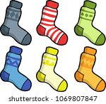 cartoon doodle set of socks on... | Shutterstock .eps vector #1069807847