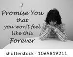 woman looking sad with a saying ... | Shutterstock . vector #1069819211