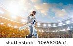 cricket player on a... | Shutterstock . vector #1069820651