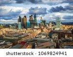 London, England - Panoramic skyline view of Bank and Canary Wharf, London