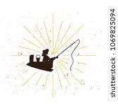 retro fisher silhouette logo.... | Shutterstock .eps vector #1069825094