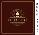 restaurant logo template vector ... | Shutterstock .eps vector #1069838054