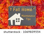 fall home maintenance tips with ... | Shutterstock . vector #1069839554