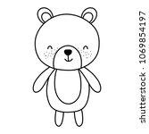 line cute bear teddy animal toy | Shutterstock .eps vector #1069854197