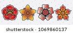 vector set flower tattoo old... | Shutterstock .eps vector #1069860137