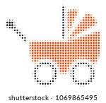 baby carriage halftone vector...   Shutterstock .eps vector #1069865495