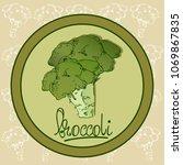 broccoli hand drawn vector... | Shutterstock .eps vector #1069867835