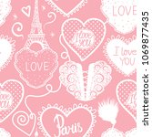 seamless pattern of hearts hand ... | Shutterstock .eps vector #1069877435