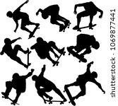set black silhouette of an... | Shutterstock .eps vector #1069877441