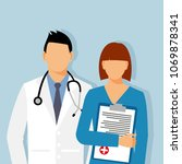 doctors and assistant in a... | Shutterstock .eps vector #1069878341