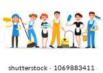cleaning service staff smiling... | Shutterstock .eps vector #1069883411