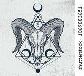 ram skull in ink graphic... | Shutterstock .eps vector #1069883651