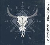 bull skull in ink graphic... | Shutterstock .eps vector #1069883687