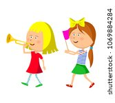 two little girls marching with... | Shutterstock .eps vector #1069884284