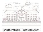line school building outdoors... | Shutterstock .eps vector #1069889024