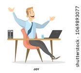 isolated happy businessman... | Shutterstock .eps vector #1069893077